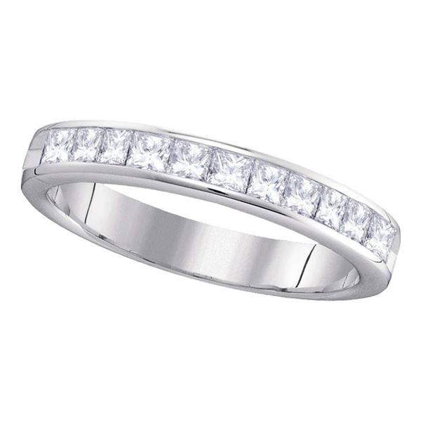 Princess Diamond 4mm Wedding Band Ring 3/4 Cttw 14kt White Gold