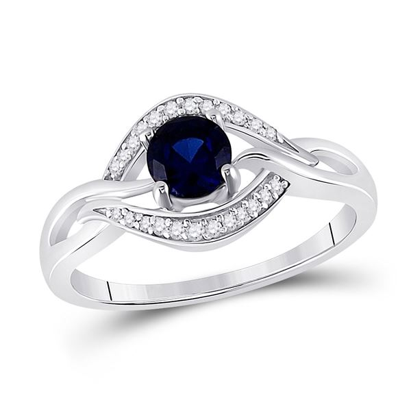 Lab-Created Blue Sapphire Solitaire Diamond Ring 5/8 Cttw Sterling Silver