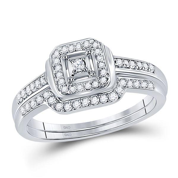 Diamond Bridal Wedding Ring Band Set 1/4 Cttw 10kt White Gold