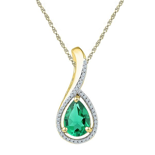 Pear Lab-Created Emerald Solitaire Diamond Pendant 2 Cttw 10kt Yellow Gold