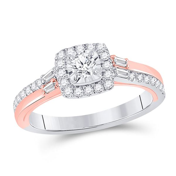 Diamond Solitaire Bridal Wedding Engagement Ring 1/2 Cttw 10kt Two-tone Gold
