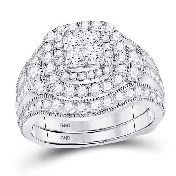 Princess Diamond Milgrain Ring Guard Bridal Wedding Ring Set 2 Cttw 14kt White Gold