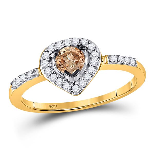 Brown Diamond Heart Solitaire Ring 1/2 Cttw 10kt Yellow Gold