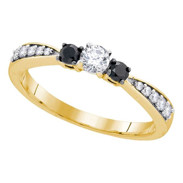 Diamond 3-stone Tapered Bridal Wedding Engagement Ring 3/8 Cttw 10kt Yellow Gold