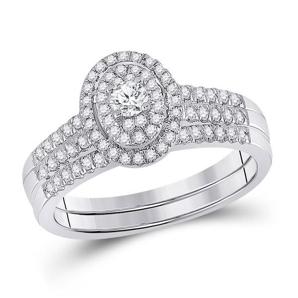 Diamond Bridal Wedding Ring Band Set 1/2 Cttw 10kt White Gold