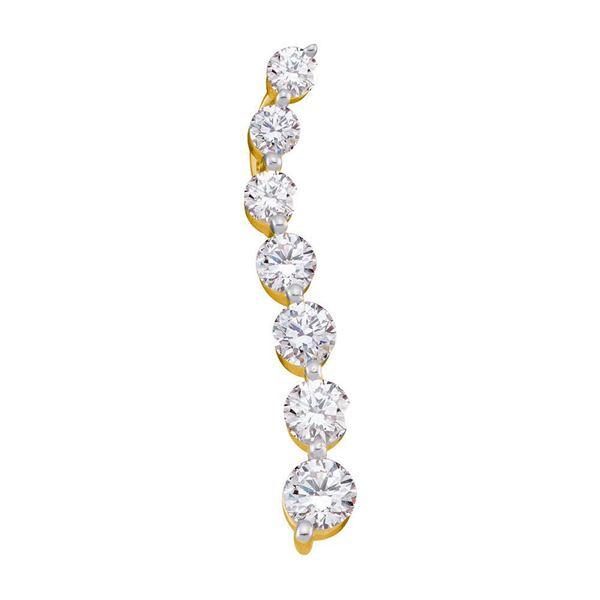Pave-set Diamond Journey Graduated Pendant 1 Cttw 14kt Yellow Gold