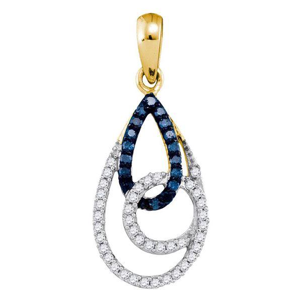 Blue Color Enhanced Diamond Teardrop Pendant 1/3 Cttw 10kt Yellow Gold