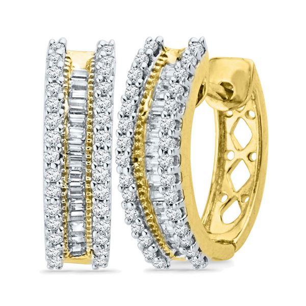 Baguette Diamond Hoop Earrings 1/2 Cttw 10kt Yellow Gold
