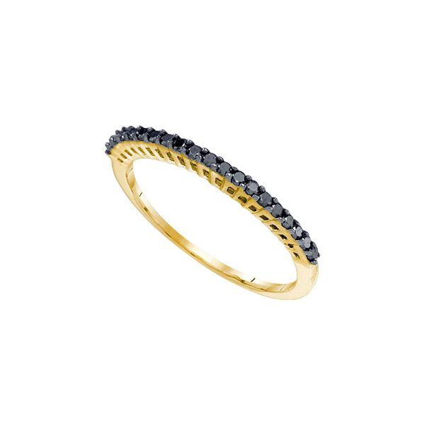 Black Color Enhanced Diamond Single Row Band Ring 1/4 Cttw 10kt Yellow Gold