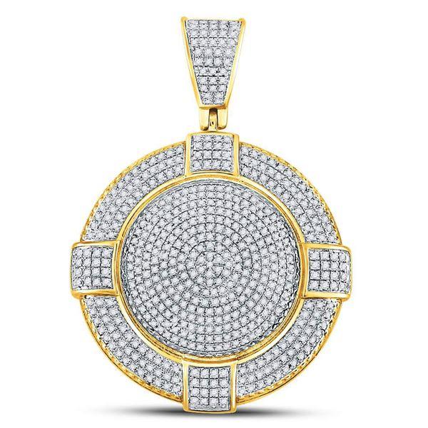 Mens Diamond Circle Frame Medallion Charm Pendant 7/8 Cttw 10kt Yellow Gold