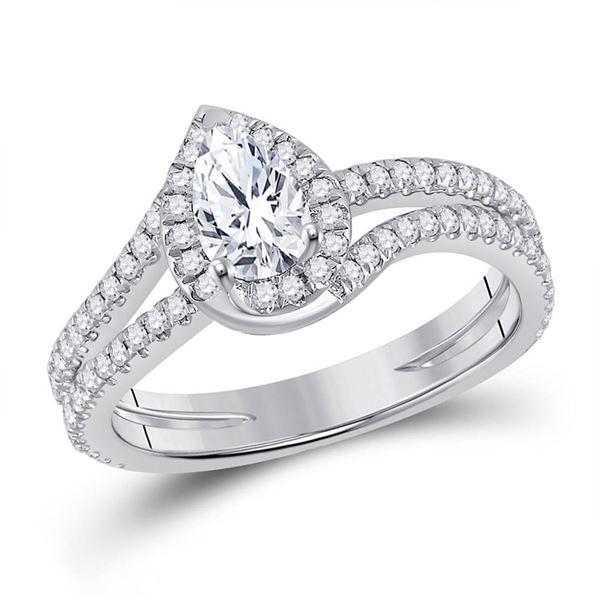 Pear Diamond Halo Bridal Wedding Engagement Ring 1 Cttw 14kt White Gold