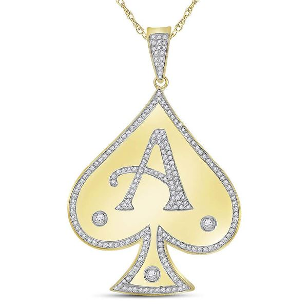 Mens Diamond Spade Aces Charm Pendant 5/8 Cttw 10kt Yellow Gold