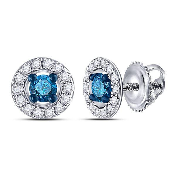 Blue Color Enhanced Diamond Stud Earrings 1/3 Cttw 10kt White Gold