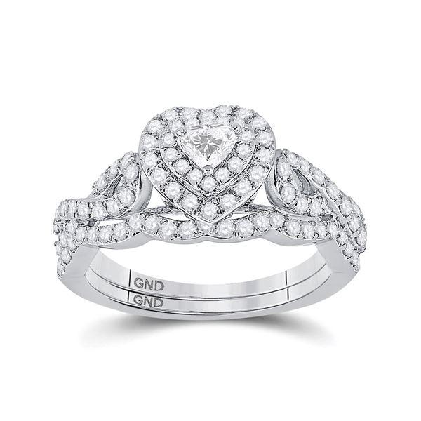 Heart Diamond Bridal Wedding Ring Band Set 1 Cttw 10kt White Gold