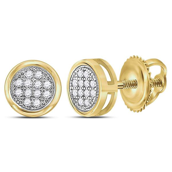 Diamond Circle Cluster Earrings 1/20 Cttw 10kt Yellow Gold