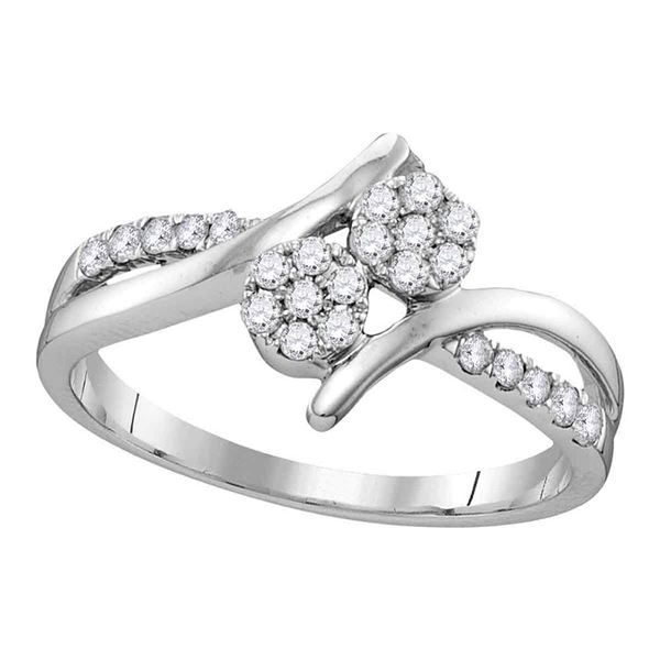 Diamond Double Cluster Bridal Wedding Engagement Ring 1/3 Cttw 14kt White Gold