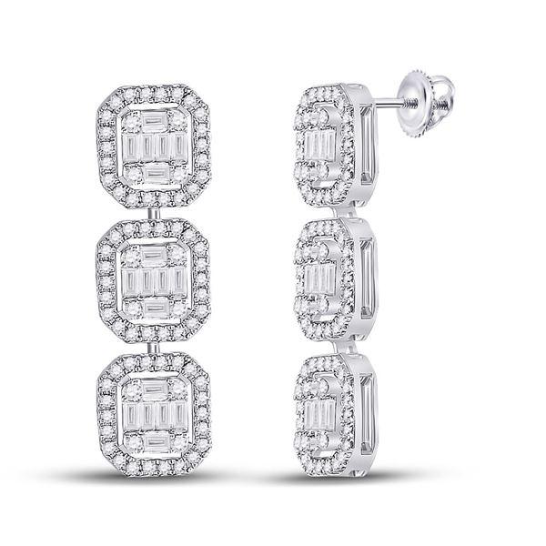 Baguette Diamond Dangle Earrings 1-5/8 Cttw 14kt White Gold
