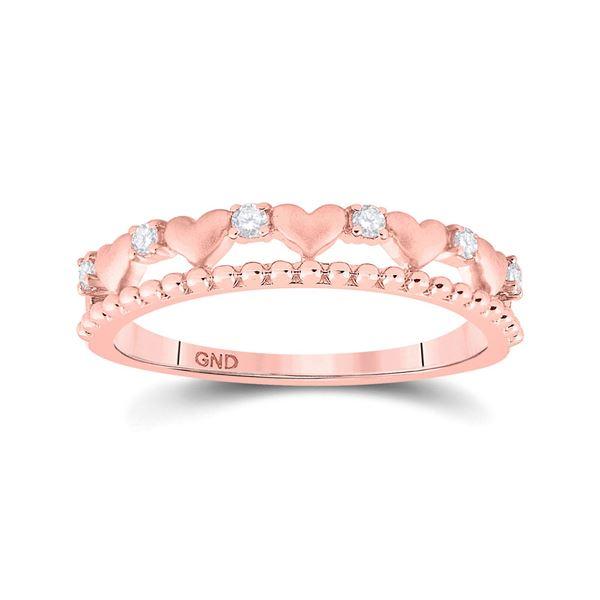 Diamond Heart Band Ring 1/10 Cttw 10kt Rose Gold
