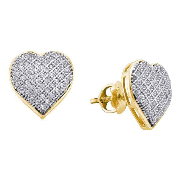 Diamond Heart Earrings 1/3 Cttw 10kt Yellow Gold