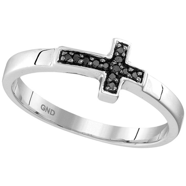 Black Color Enhanced Diamond Cross Band Ring 1/20 Cttw Sterling Silver