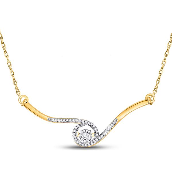 Diamond Moving Twinkle Pendant Necklace 1/5 Cttw 10kt Yellow Gold