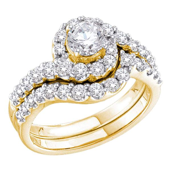 Diamond Bridal Wedding Ring Band Set 1-3/8 Cttw 14kt Yellow Gold