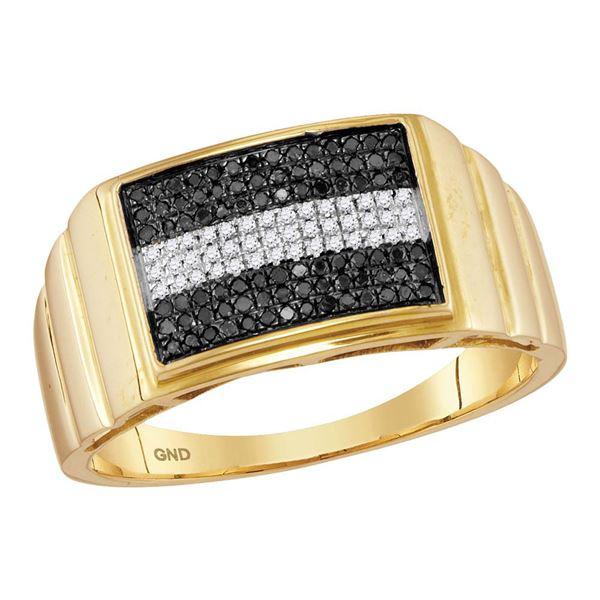 Mens Black Color Enhanced Diamond Stripe Cluster Ring 1/4 Cttw 10kt Yellow Gold