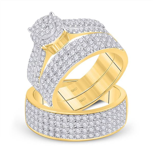 His Hers Diamond Cluster Matching Wedding Set 2-5/8 Cttw 14kt Yellow Gold