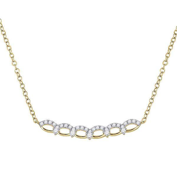 Diamond Bar Necklace 1/3 Cttw 14kt Yellow Gold