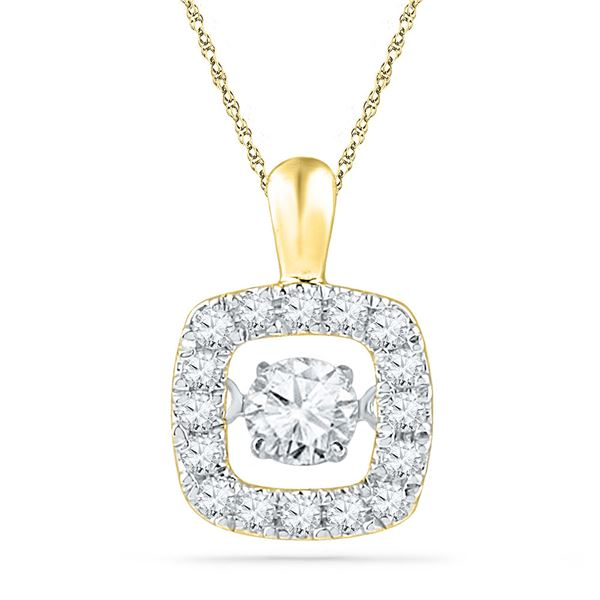 Diamond Square Moving Twinkle Pendant 1/4 Cttw 10kt Yellow Gold