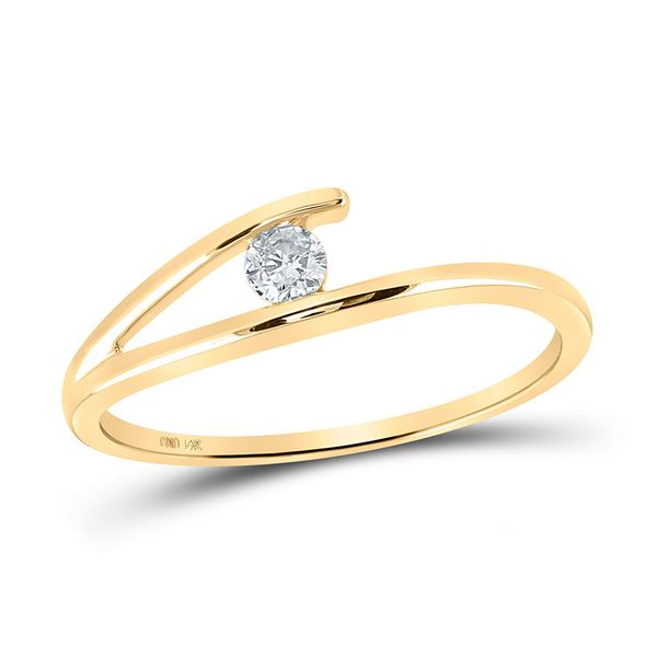 Diamond Solitaire Promise Ring 1/10 Cttw 14kt Yellow Gold