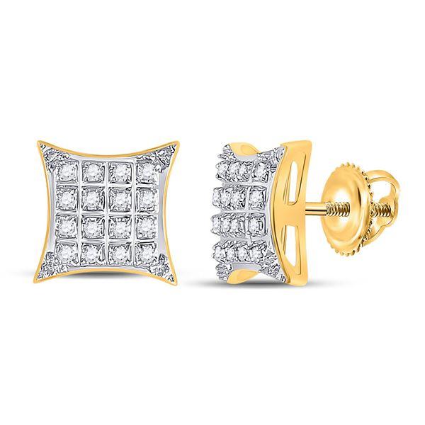 Diamond Square Kite Stud Earrings 1/10 Cttw 10kt Yellow Gold