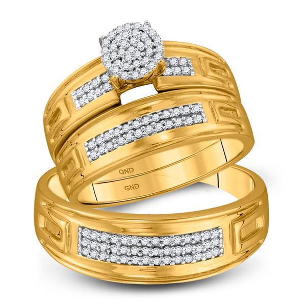 His Hers Diamond Cluster Matching Wedding Set 1/3 Cttw 10kt Yellow Gold