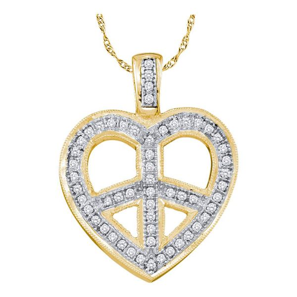 Diamond Heart Peace Sign Pendant 1/6 Cttw 10kt Yellow Gold