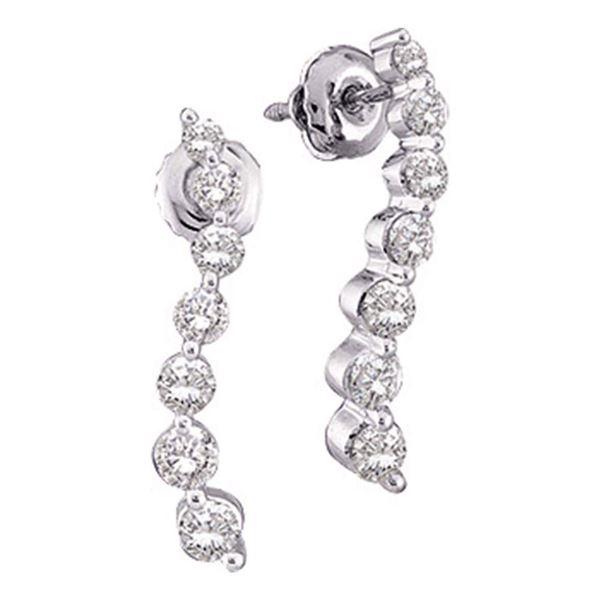Diamond Journey Earrings 1/4 Cttw 10kt White Gold