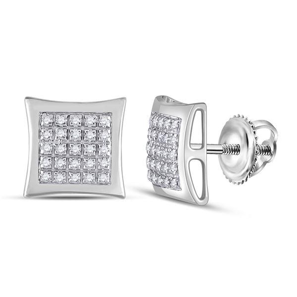 Mens Diamond Kite Square Earrings 1/8 Cttw 10kt White Gold