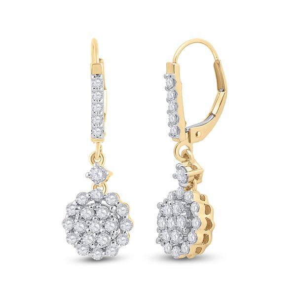 Diamond Flower Cluster Dangle Earrings 1 Cttw 14kt Yellow Gold
