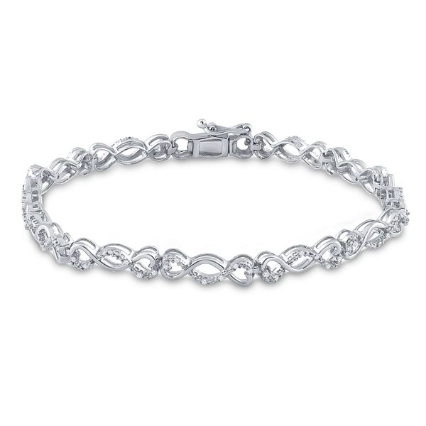 Diamond Heart Twist Link Bracelet 1/4 Cttw Sterling Silver