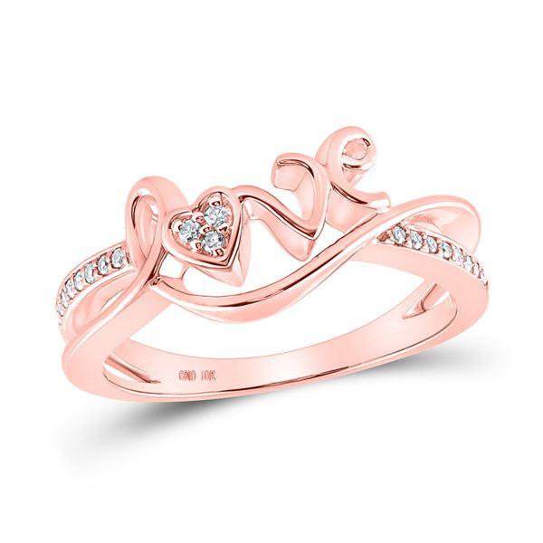 Diamond Love Heart Ring 1/12 Cttw 10kt Rose Gold
