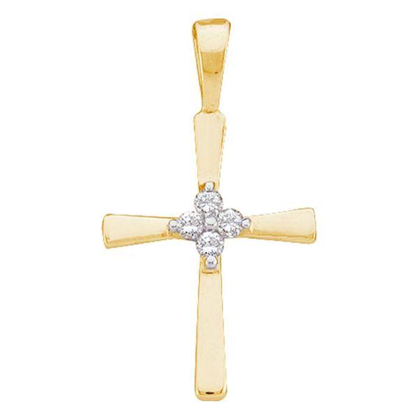 Diamond Cross Pendant 1/20 Cttw 14kt Yellow Gold