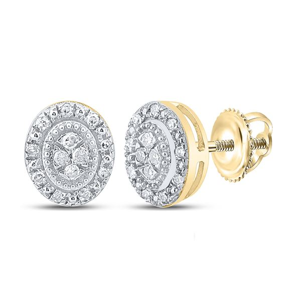 Diamond Oval Cluster Earrings 1/10 Cttw 10kt Yellow Gold