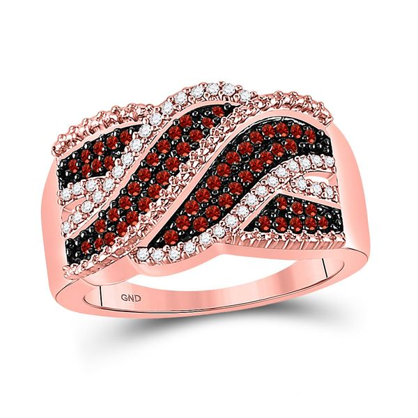 Red Color Enhanced Diamond Crossover Band Ring 1/3 Cttw 10kt Rose Gold