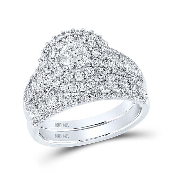 Diamond Bridal Wedding Ring Band Set 2 Cttw 14kt White Gold