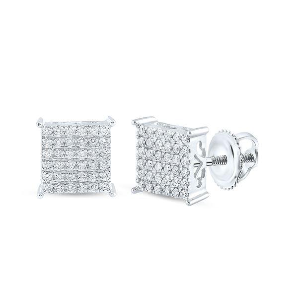 Diamond Square Earrings 1/2 Cttw 10kt White Gold
