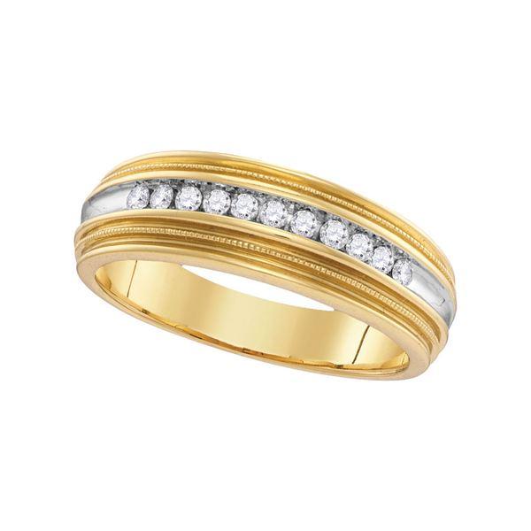 Mens Diamond Two-tone Milgrain Wedding Anniversary Band Ring 1/4 Cttw 10kt Yellow Gold