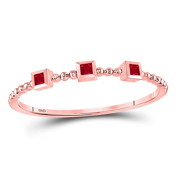 Princess Ruby 3-Stone Beaded Stackable Band Ring 1/20 Cttw 10kt Rose Gold
