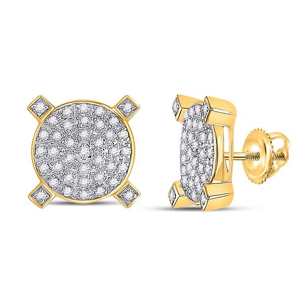 Mens Diamond Circle Cluster Earrings 1/4 Cttw 10kt Yellow Gold