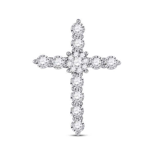 Diamond Cross Pendant 1/2 Cttw 14kt White Gold