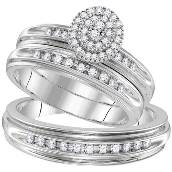 His Hers Diamond Oval Matching Wedding Set 1/2 Cttw 10kt White Gold