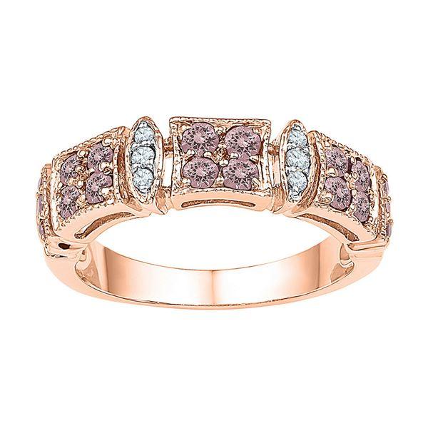 Morganite Diamond Band Ring 5/8 Cttw 10kt Rose Gold